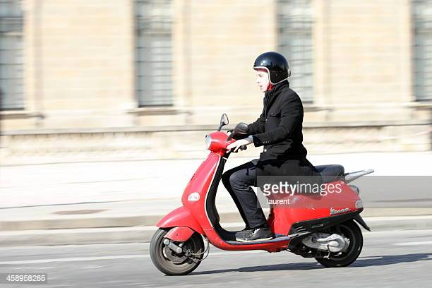 Red scooter in Paris