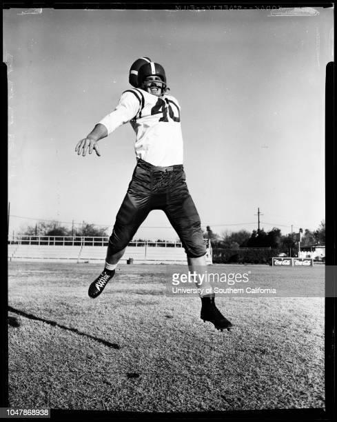 Red' scores more 18 November 1956 Joe DoolittleCaption slip reads 'Photographer James Brezina Date Assignment Canoga Park Senior Leads LA football...