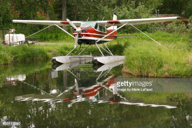 red seaplane in alaska - marie lafauci stock pictures, royalty-free photos & images
