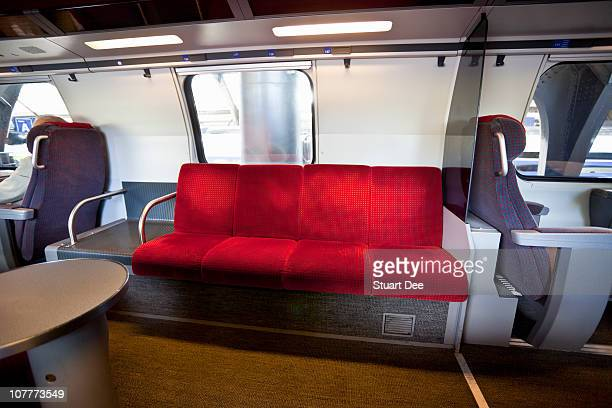 Red seats, First Class cabin in train, Bern