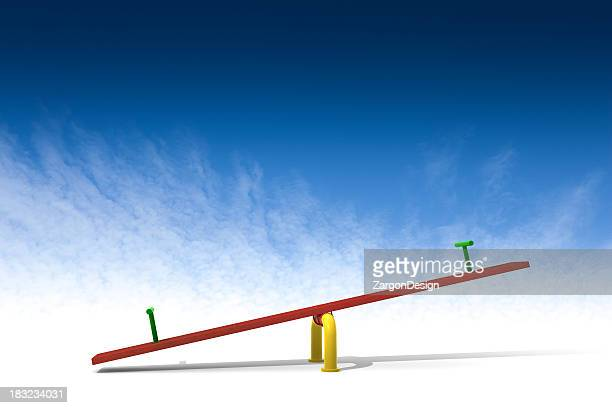 Red seesaw in front of a blue background