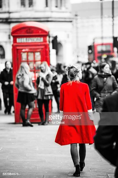 red selected color in the streets of london - isolated color stock pictures, royalty-free photos & images