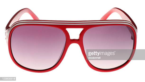 Red Seventies Style Sunglasses on White
