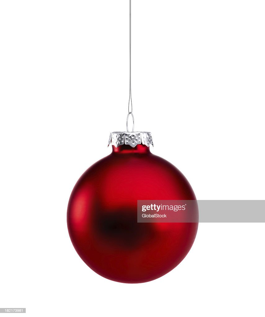 Red Shiny Baubles isolated : Stock Photo