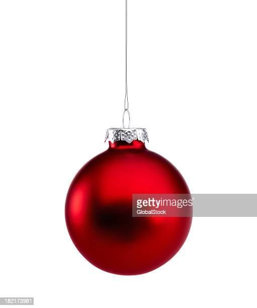 red shiny baubles isolated - christmas ornaments stock photos and pictures