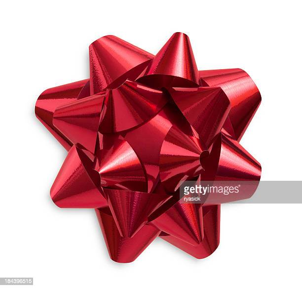 Red Shiny Christmas Gift Bow Isolated on White with Shadow