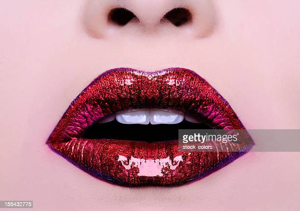 red shiny lips - lip liner stock photos and pictures