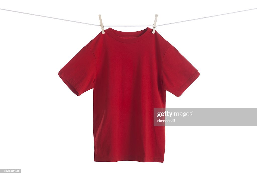 Red Shirt Hanging on a Clothesline : Stock Photo