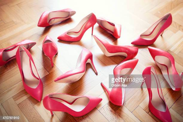 red shoes - high heels stock pictures, royalty-free photos & images