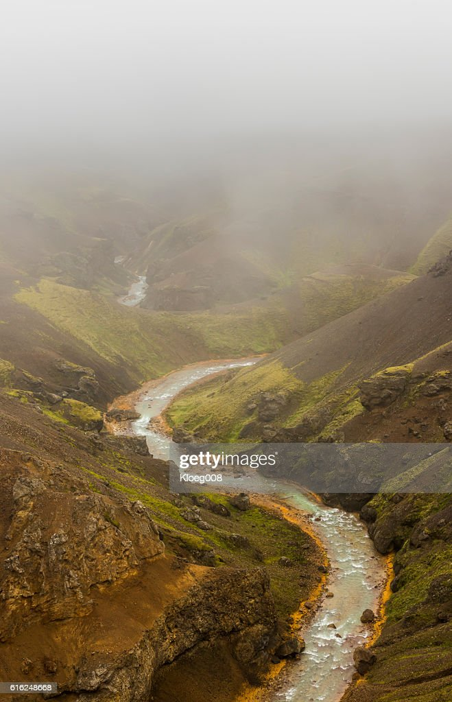 Red Shore River Kerlingarfjoll Iceland : Stock Photo
