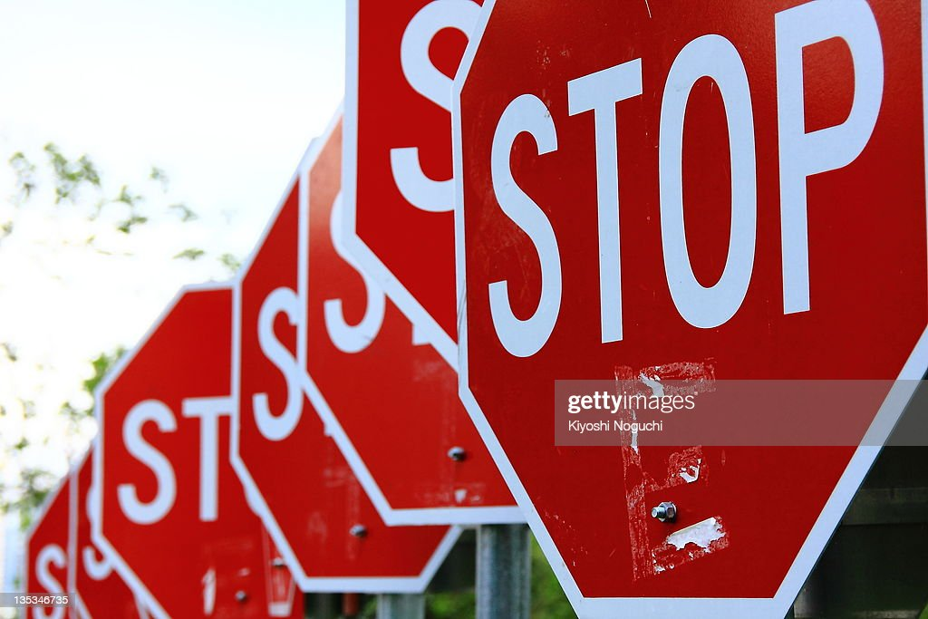 Red signal sign of stop : Stock Photo