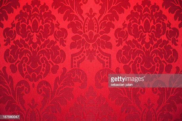 red silk wallpaper with ornaments - victorian style stock pictures, royalty-free photos & images