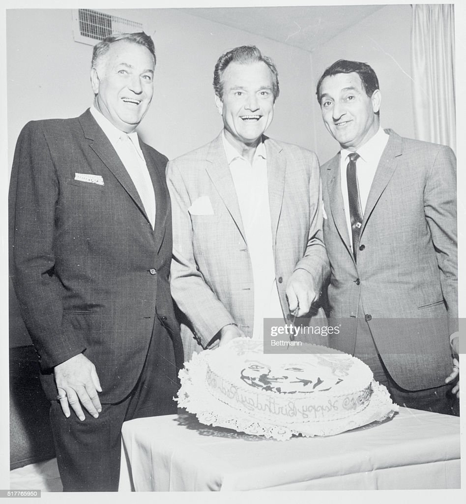 Red Skelton Cuts His Birthday Cake In Las Vegas With Fellow Tv Star