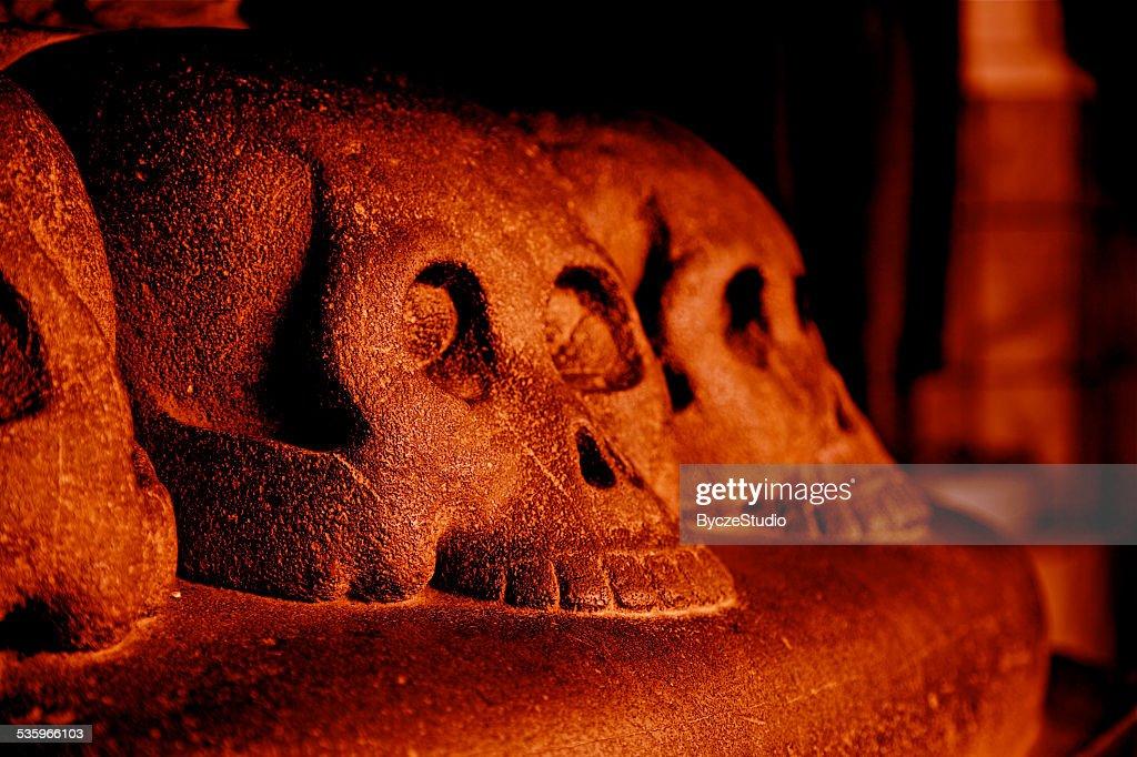 Red Skull Hell Death Fear Danger Evil Curse Spooky Archeology : Stock Photo