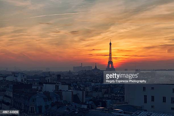 Red sky during sunset in Paris