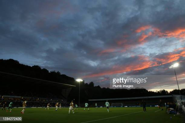 Red sky over Adams Park during The Pre-Season Friendly between Wycombe Wanderers and Leicester City at Adams Park on July 28, 2021 in High Wycombe,...