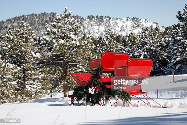red sleigh in deep winter snow - christmas horse stock pictures, royalty-free photos & images