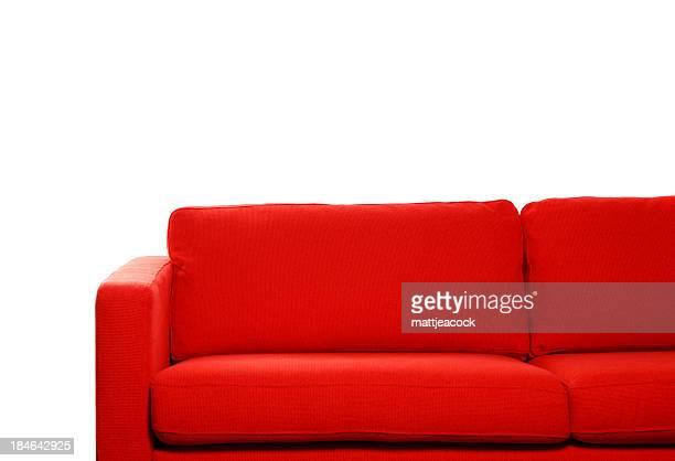 Canapé rouge sur fond blanc