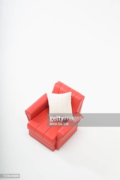 Red sofa and cushion