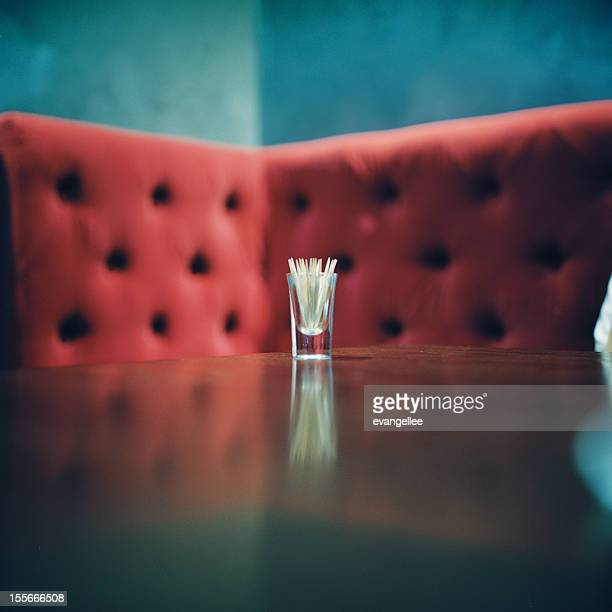 Red sofa and glass