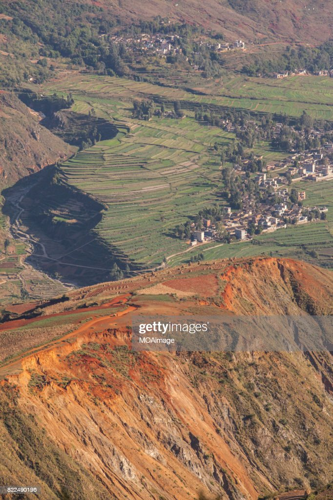 Red soil farmlands in Dongchuan district : Stock Photo