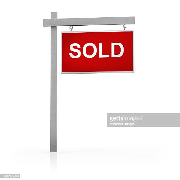 red 'sold' sign on white background - estate agent sign stock pictures, royalty-free photos & images