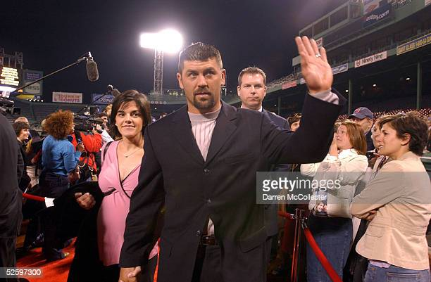 Red Sox catcher Jason Varitek and wife Karen attend the World Premiere of the new movie Fever Pitch April 6 2005 at Fenway Park in Boston...