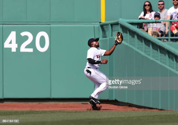 Red Sox centerfielder Jackie Bradley Jr. Makes a catch on a long fly ball hit by Pirates' Francisco Cervelli in the fourth inning. The Boston Red Sox...