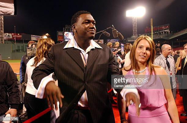 Red Sox designated hitter David Ortiz and wife Tiffany attend the World Premiere of the new movie Fever Pitch April 6 2005 at Fenway Park in Boston...