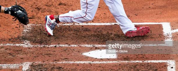 Red Sox designated hitter Hanley Ramirez wears his plastic cleats in the batter's box at Fenway Park in Boston on Apr 12 2017 His cleats which make...