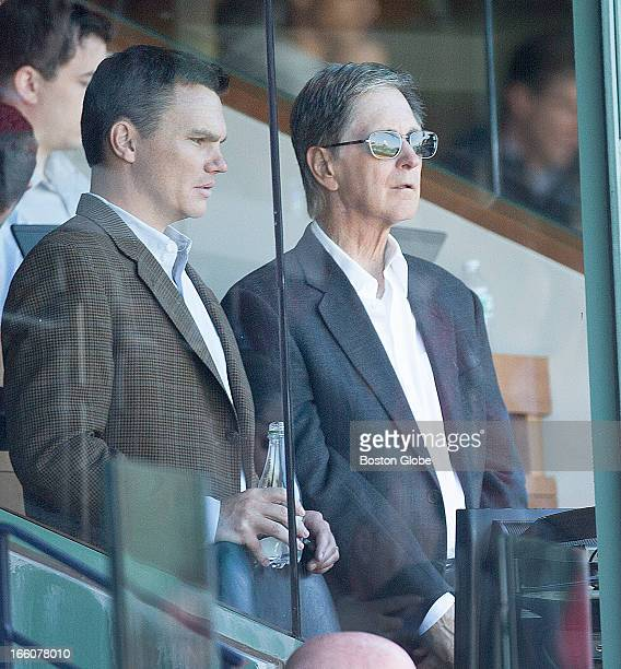 Red Sox GM Ben Cherington and principal owner John Henry watch the Red Sox win their home opener The Baltimore Orioles play the Boston Red Sox during...