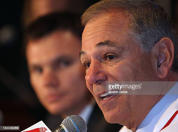 Red Sox introduced new manager Bobby Valentine at a press conference at Fenway Park Valentine speaks as general manager Ben Cherington looks on