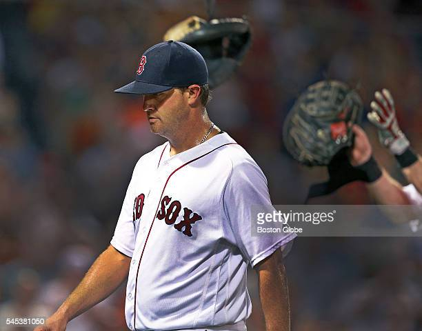 Red Sox knuckleballer starting pitcher Steven Wright was removed from the game in the top of the seventh and as he left Boston catcher Ryan Hanigan...