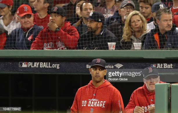 Red Sox manager Alex Cora and pitching coach Dana LeVangie during the second inning Boston Red Sox hosted the New York Yankees in Game 2 of the ALDS...