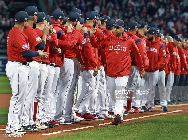 Red Sox manager Alex Cora during pre game introduction The Boston Red Sox hosted the New York Yankees in Game 1 of the ALDS at Fenway Park in Boston...