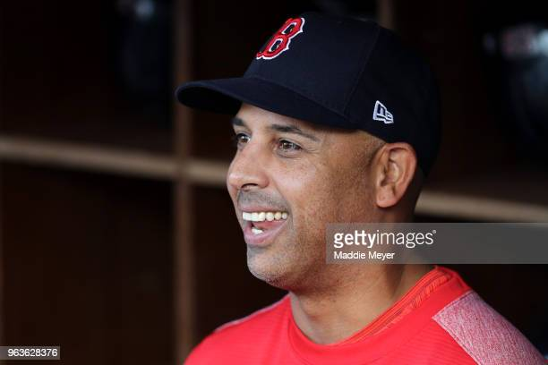 Red Sox Manager Alex Cora in the dugout before the game against the Toronto Blue Jays at Fenway Park on May 29 2018 in Boston Massachusetts