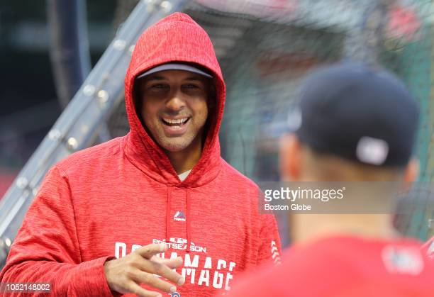Red Sox manager Alex Cora on the field before the game Boston Red Sox hosted the Houston Astros in Game Two of ALCS at Fenway Park in Boston on Oct...