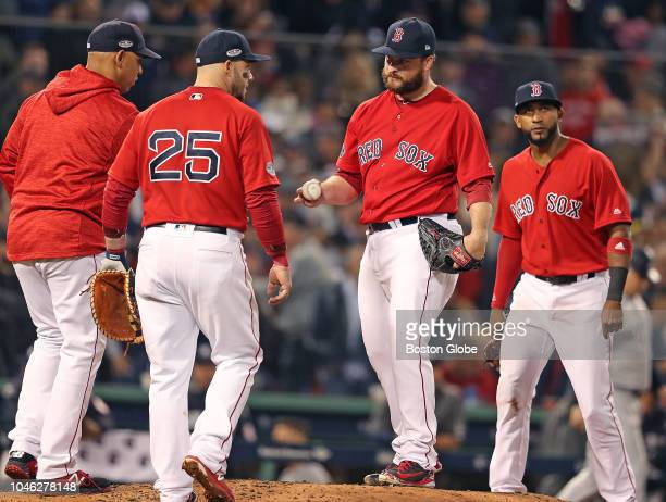 Red Sox manager Alex Cora removes relief pitcher Ryan Brasier from the game in the top of the 6th inning The Boston Red Sox hosted the New York...
