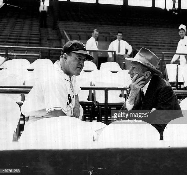 Red Sox Manager Joe Cronin & General Manager Eddie Collins before Yankee Red Sox Series at Fenway Park in Boston, Massachusetts.