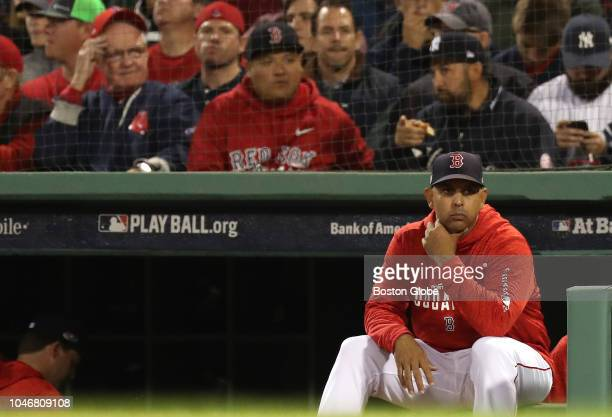 Red Sox manger Alex Cora during sixth inning Boston Red Sox hosted the New York Yankees in Game 2 of the ALDS at Fenway Park in Boston on Oct 05 2018