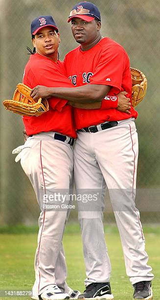 Red Sox outfielder Manny Ramirez left arrived in camp today and his good buddy from last year Carlos Baerga is gone but fellow native of the...