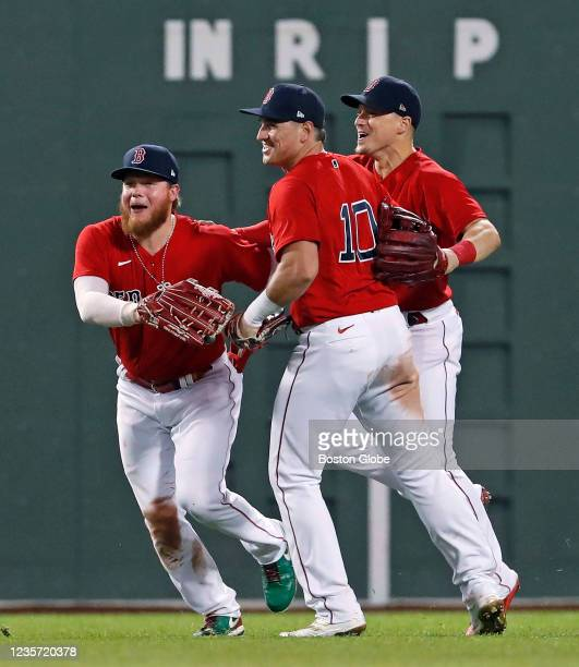 Red Sox outfielders Alex Verdugo, Hnter Renfroe and Kike Hernandez celebrate the victory. The Boston Red Sox host the New York Yankees in the...