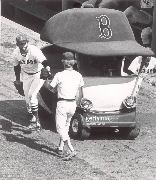 Red Sox pitcher Bill Lee arrives in the bullpen cart to relieve Ferguson Jenkins in the fifth inning as the Red Sox played the Chicago White Sox on...