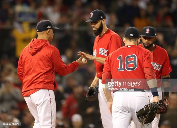 Red Sox pitcher David Price gives the ball to manager Alex Cora after being pulled from the game in the second inning Boston Red Sox hosted the New...