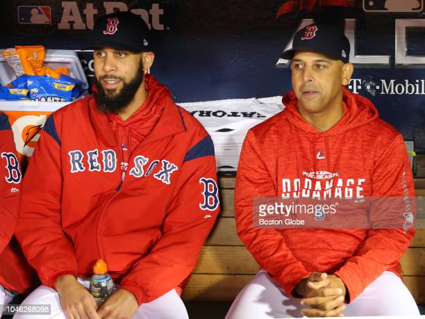 Red Sox pitcher David Price sat in the dugout with manager Alex Cora before the game Boston Red Sox hosted the New York Yankees in the first game of...