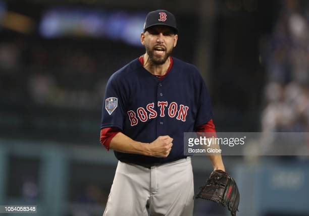 Red Sox pitcher Matt Barnes reacts after striking out Dodger Manny Machado to end the eighth inning in Game 3 of the World Series The Los Angeles...