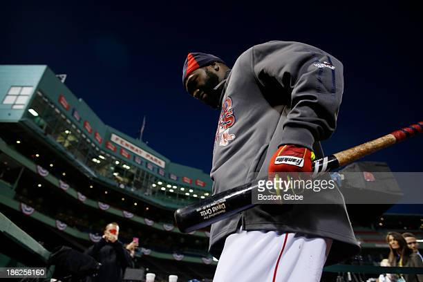 Red Sox player David Ortiz leaves the field after batting practice at Fenway Park in Boston on October 29 2013