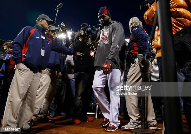 Red Sox player David Ortiz walks away after talking to the media following batting practice at Fenway Park in Boston on October 29 2013