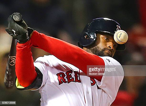 Red Sox player Jackie Bradley Jr. Fouls a pitch in the ninth inning. The Boston Red Sox played the Atlanta Braves at Fenway Park in Boston, Thursday,...