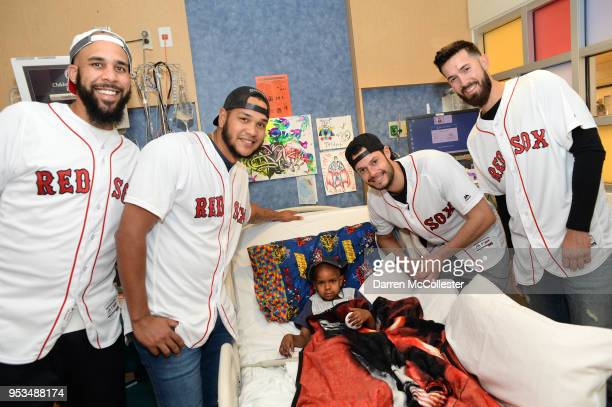 Red Sox players David Price Edourdo Rodriguez Koe Kelly and Rick Porcello visit Jordan at Boston Children's Hospital May 1 2018 in Boston...